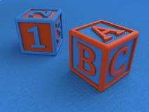 Dziecko sześciany z postaciami i listami na błękitnym tle, zabawka dla uczyć się listy i liczby 3 d czynią ilustracja wektor