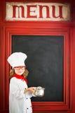 Dziecko szefa kuchni kucharz Restauracyjnego biznesu pojęcie Zdjęcie Royalty Free