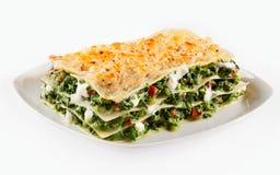 Dziecko szpinaka lasagne z mozzarellą Obrazy Royalty Free