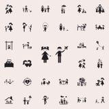 dziecko sztuka w toysicon Rodzinny ikony ogólnoludzki ustawiający dla sieci i wiszącej ozdoby ilustracji
