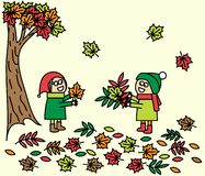 Dziecko sztuka z jesień liśćmi wektor ilustracja wektor