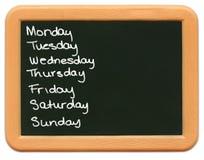 dziecko tablicy s mini - dni tygodnia Obraz Royalty Free