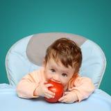 dziecko target541_1_ małego pomidoru Obrazy Royalty Free