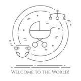 Dziecko tematu horyzontalny sztandar Piktogramy dziecko, pram, ściąga, wisząca ozdoba, zabawki, brzęk, butelka, pieluszka, wanna, ilustracja wektor