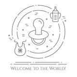 Dziecko tematu horyzontalny sztandar Piktogramy dziecko, pram, ściąga, wisząca ozdoba, zabawki, brzęk, butelka, pieluszka, wanna, ilustracji