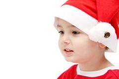 Dziecko twarz z Santa kapeluszem Obrazy Stock