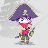 Dziecko ubierający jako pirat, pirata motyw, piratów atrybuty ilustracja wektor