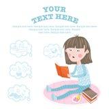 Dziecko uczy się nową wiedzę od książek ilustracja wektor