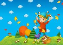 Dziecko w drewnie lub jesień - grzybobranie - royalty ilustracja