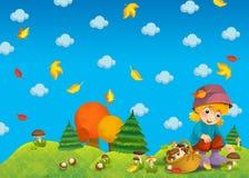Dziecko w drewnie lub jesień - grzybobranie - Obraz Royalty Free