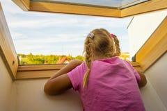 Dziecko w okno Obrazy Stock
