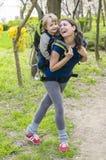 Dziecko w plecaku Obraz Royalty Free