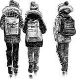 Dziecko w wieku szkolnym iść do domu royalty ilustracja