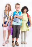 Dziecko w wieku szkolnym z torbami i książkami odizolowywającymi Fotografia Royalty Free