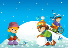 Dziecko w zimie na saneczki Obrazy Royalty Free