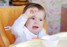 Dziecko wiek 1 rok no chce jeść Zdjęcia Stock