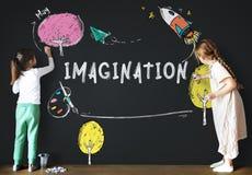 Dziecko wyobraźni uczenie ikony pojęcie Zdjęcie Royalty Free