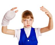 Dziecko z łamaną ręką. Zdjęcie Stock