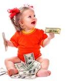 Dziecko z euro pieniądze. Fotografia Royalty Free