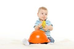 Dziecko z hełmem i ochronnymi szkłami. Obraz Stock