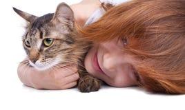 Dziecko z jej kotem obrazy royalty free