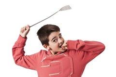 Dziecko z komarnicy swatter Zdjęcie Stock