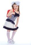 Dziecko z schoolbag. Dziewczyna z szkolną torbą obrazy royalty free