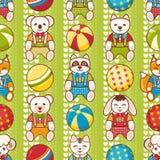 Dziecko zabawkarski bezszwowy wzór Projektuje element dla pocztówki, sztandar, ulotka Zdjęcia Royalty Free