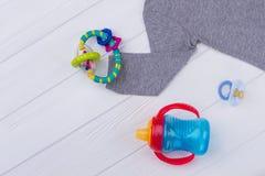 Dziecko zabawki na drewnie i płótno fotografia stock