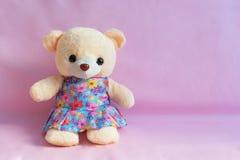 dziecko zabawki niedźwiedź na różowym tle obrazy stock