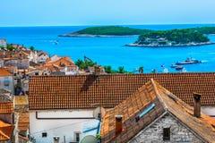 Dziejowa antyczna architektura w Chorwacja, wyspa Hvar Obrazy Royalty Free