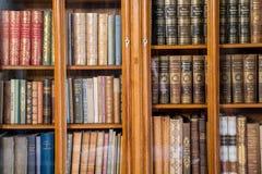 Dziejowa biblioteka z starymi książkami Obrazy Royalty Free