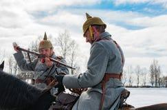 Dziejowa odbudowa walki czasy Pierwszy świat na Borodino polu na Marzec 13, 2016 Zdjęcia Stock