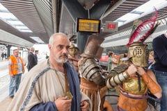 Dziejowa rzymianin grupa przy expo 2015 w Mediolan, Włochy Obrazy Royalty Free