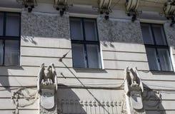 Dziejowe rzeźby ptaki w budynku Chernovtsy Ukraina Zdjęcie Stock