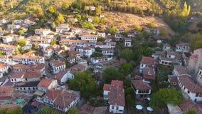 Dziejowi Biali domy, Sirince wioska, Izmir Turcja Widok z lotu ptaka trutnia strzał zbiory
