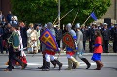 Dziejowi Bułgarscy wojsko kostiumy Fotografia Royalty Free