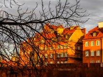 Dziejowi budynki czerwone ściany z cegieł Warszawski barbakan, Polska i sylwetka gałąź przed one przy, fotografia royalty free