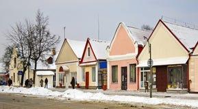 Dziejowi budynki na Zholudev ulicie w Vawkavysk Białoruś Obraz Stock