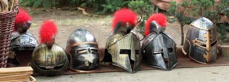 Dziejowi rycerzy hełmy Fotografia Royalty Free