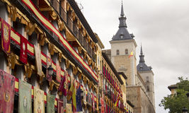 Dziejowi sztandary w Toledo, Hiszpania zdjęcie stock