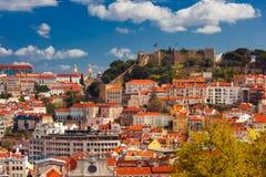 Dziejowy centre Lisbon na słonecznym dniu, Portugalia zdjęcia stock