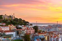 Dziejowy centre Lisbon przy zmierzchem, Portugalia Fotografia Stock