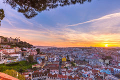 Dziejowy centre Lisbon przy zmierzchem, Portugalia Zdjęcie Royalty Free