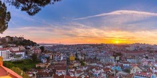 Dziejowy centre Lisbon przy zmierzchem, Portugalia Obrazy Royalty Free