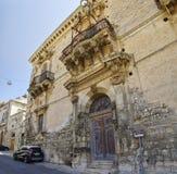 Dziejowy centrum miasta odrobiny w Sicily, Włochy jest UNESCO światowego dziedzictwa miejscem Zdjęcie Stock