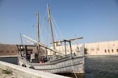 Dziejowy dhow statek w Katar Zdjęcia Stock