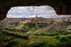 Dziejowy dziedzictwo Matera w Włochy strzale od jamy Zdjęcia Royalty Free