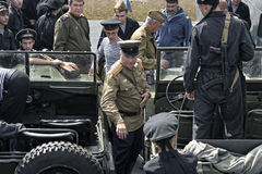 Dziejowy festiwal Drugi wojna światowa w Samara, Lipiec 26, 2015 Grupowy Jung i piechota czerwony wojsko na Zdjęcia Royalty Free