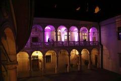 Dziejowy kasztel przy nocą Fotografia Royalty Free